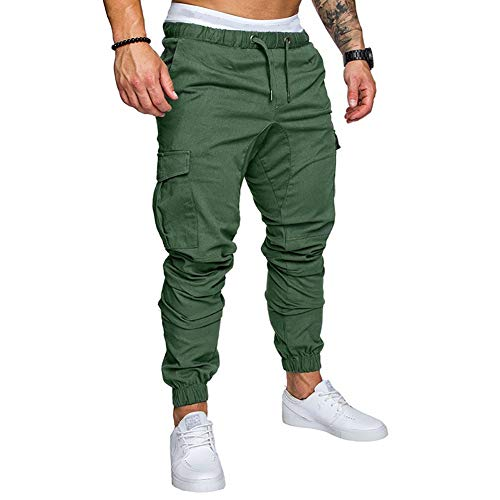 acelyn Mens Casual Multi-Pocket Slim Fit Elasticated Waist Bodybuilding Workout Sports Sweatpant, Green, M