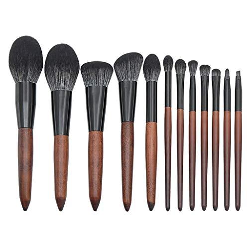 12shage Pinceaux Maquillage Cosmétique Professionnel 12pcs Set Cosmétique Brush Beauté Maquillage Brosse Makeup Brushes Complet Soyeux et Facile pour Tous Types de Maquillage, Cadeau - Bois de santal