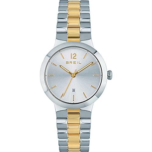 Breil - Reloj de mujer B Glare, esfera mono-color plateado, movimiento solo tiempo, 3H, cuarzo y pulsera de acero multicolor TW1910