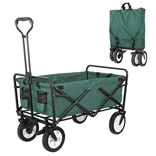 """HEMBOR Collapsible Outdoor Utility Wagon, Heavy Duty Folding Garden Portable Hand Cart, with 8"""" Rubber Wheels and Brake Wheels, Adjustable Handles and Double Fabric, for Shopping,Picnic,Beach (Green)"""