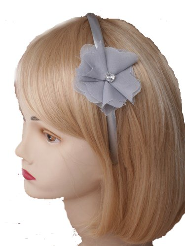 Aliceband - Raggy frayed fabric flower on narrow satin headband alice band[Grey] by Mias Accessories
