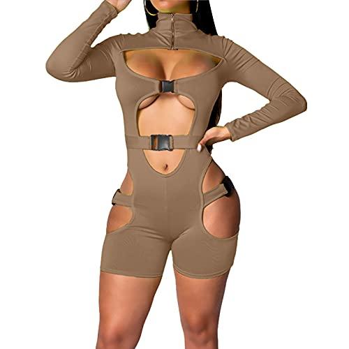 Mono sexy ahuecado para mujer, de manga larga, con cierre de cremallera, para motorista, corto, para clubwear, café, S