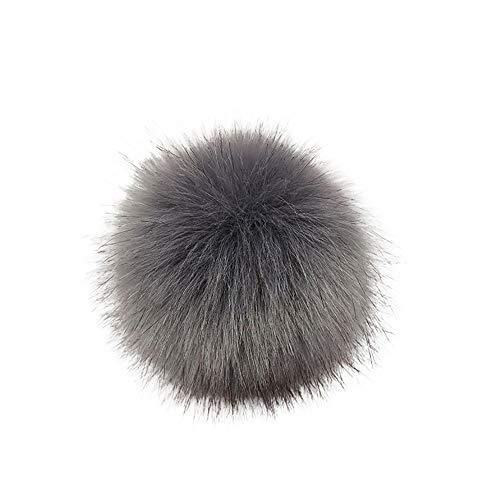 TUDUZ DIY Kunstpelz Pom Poms Ball mit Druckknopf/Gummiband Abnehmbarer Flauschiger Kunstfell Bommel Pompon für Mützen und Beanies Schuhe Schals Tasche Zubehör(A-12)