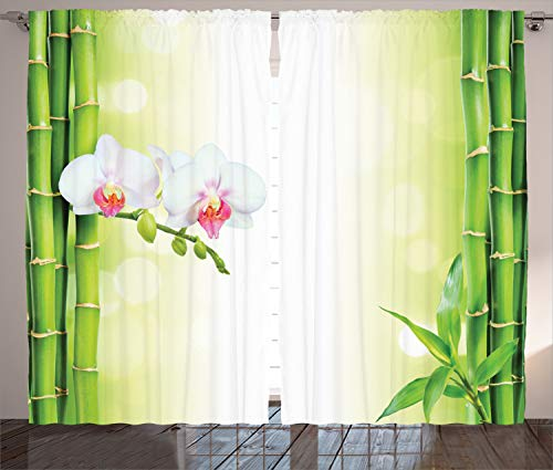 ABAKUHAUS SPA Cortinas, Ramas orquídeas de bambú, Sala de Estar Dormitorio Cortinas Ventana Set de Dos Paños, 280 x 260 cm, Blanco y Verde