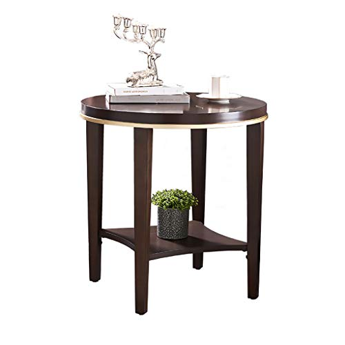 Small Round Side Table Retro Sofa Lamp Tea End Tables Coffee Table for Living Room Home Office, Brown