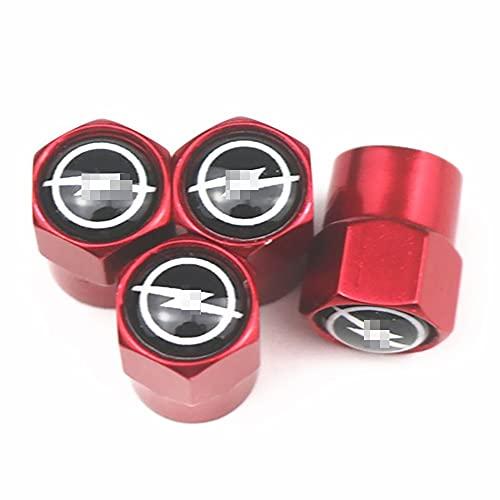 Tapones de válvula de neumático de aleación de aluminio para polvo de 4 piezas para OPEL Corsa Insignia Astra,sello hermético   Diseño hexagonal, accesorios prácticos para automóviles