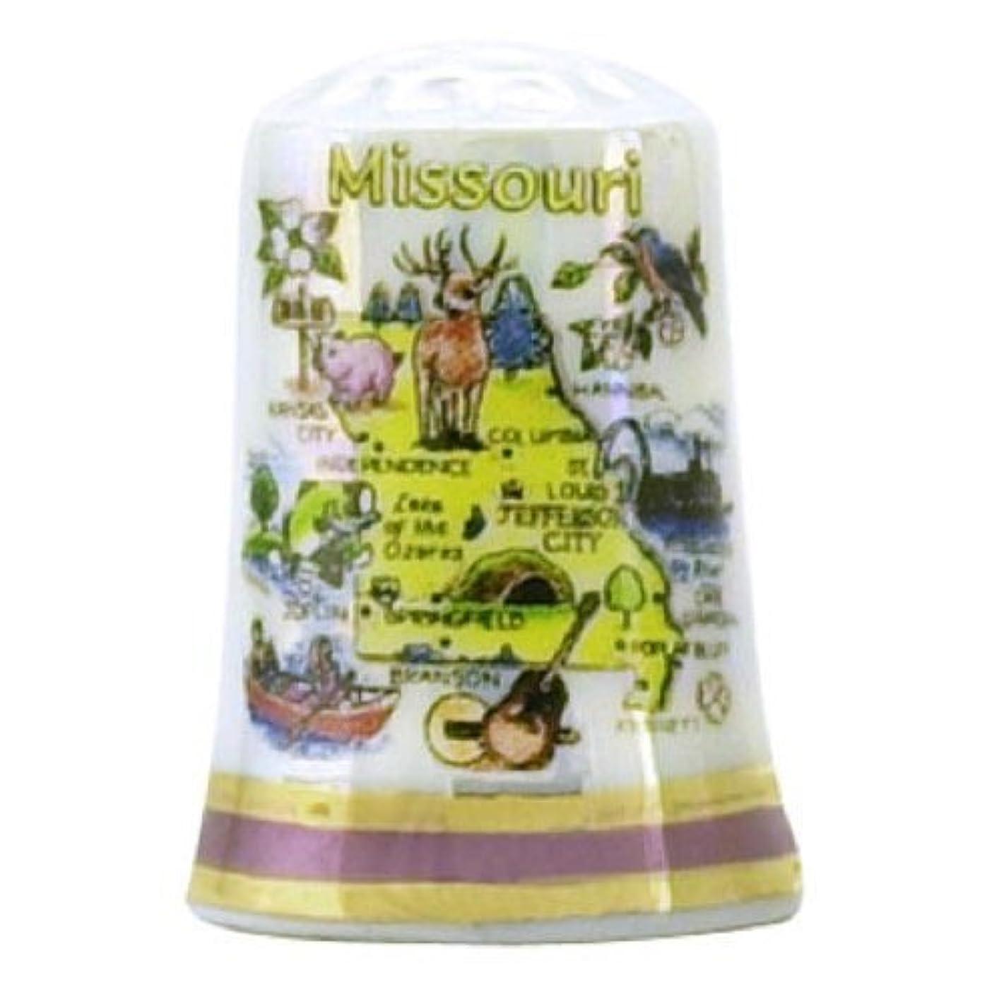 Missouri State Map Pearl Souvenir Collectible Thimble agc