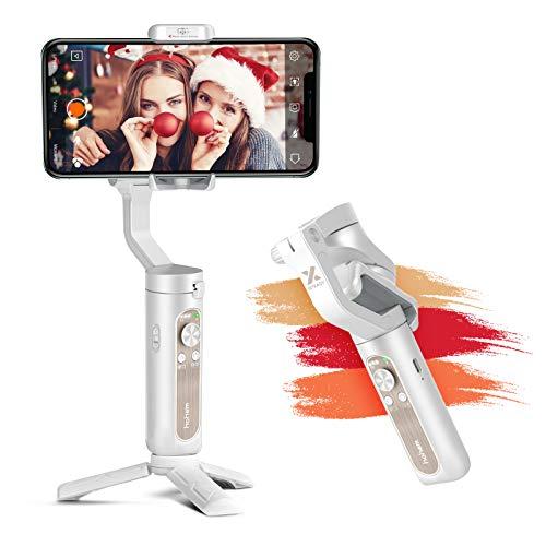 Estabilizador Móvil - Hohem Gimbal Móvil Plegable con 5 Modos para Vlog/Youtuber 3 Ejes Estabilizador Garga de 280g Compatible con iPhone 12/11/Xs MAX/Samsung Galaxy/Huaiwei/Xiaomi etc 【iSteady X】