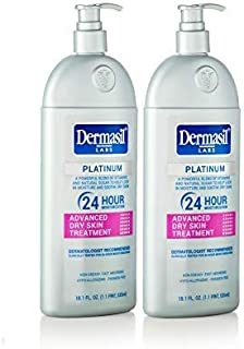 Advanced Face Moisturizer Body Lotion - Dermasil Labs Dermatologists Treatment for Newest & Most Effective Advanced 24 Hour Moisturizes and Softens Dry Skin Lotion Platinum Protects (Pack of 2)