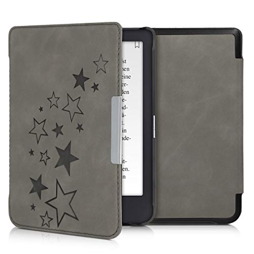 kwmobile Tolino Shine 3 Hülle - Kunstleder eReader Schutzhülle Cover Case für Tolino Shine 3 - - Sternenmix Design Grau
