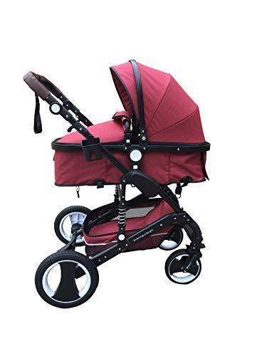 Baby Pram Buggy Kinderwagen Autositz Korallenrot Set 3in1 Naturleinen Stoffe
