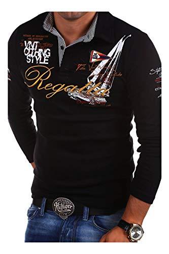MT Styles Langarm Poloshirt Regatta T-Shirt R-0665 [Schwarz, L]