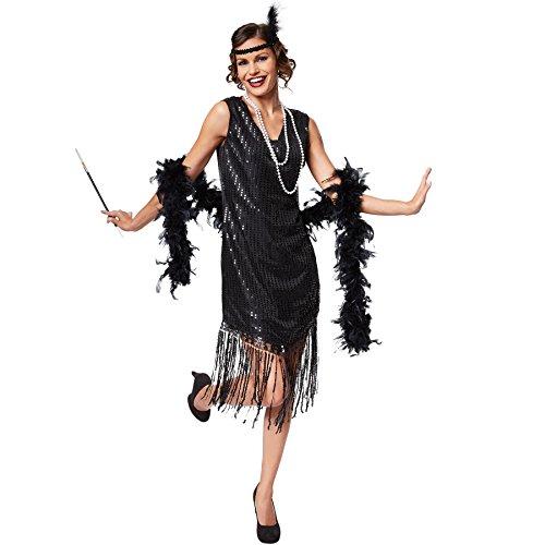 TecTake dressforfun Frauenkostüm Jazz | Elegantes Paillettenkleid | Inkl. Haarband mit Feder (XL | Nr. 301578)