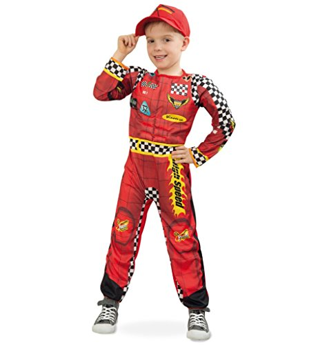 KarnevalsTeufel Rennfahrer, Kinderkostüm, Kinder-Outfit, rot-gelb, Overall, Ganzkörper-Anzug Rennfahrer Rallye Formel 1 (128)