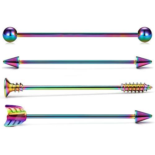 Crdifu 4pcs Rainbow Piercing Industrial Barbell 14 Gauge 38mm Spike Flecha Joyería Piercing de Oreja