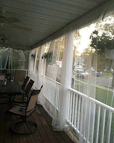 """One White Mosquito Netting Curtain Panel. 98"""" l x 110"""" w. Read Description for Product Details. Patio or Bedroom Window Net Curtain Panels"""