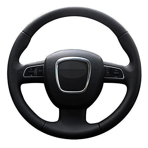 Funda de volante para Audi A3 8P 2008-13 A4 B8 2008-10 A5 2008-10 A6 C6 2007-11 Funda de volante de coche cosida a mano cuero artificial negro