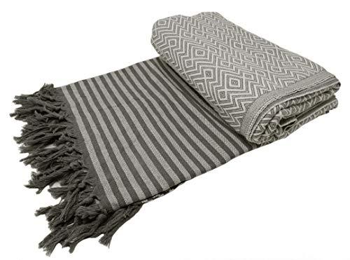 Bella Casa KELIM LUX Tagesdecke Bettüberwurf Überwurf Plaid Baumwolle 205x260 cm (Schwarz/Weiß)
