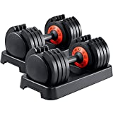 AOTOB 55 lbs Adjustable Dumbbells Weight for Men and Women with Anti-Slip...