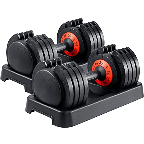 AOTOB 55 lbs Adjustable Dumbbells Weight for Men and Women with Anti-Slip Fast Adjust Turning Handle, Durable Dumbbell Suitable for Home Gym Exercise and Workout Fitness (Pair)