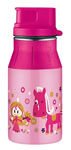 alfi 5377.135.040 Trinkflasche elementBottle II, Edelstahl Little Princess Rosa 0,4 l, Spülmaschinenfest, BPA-Free