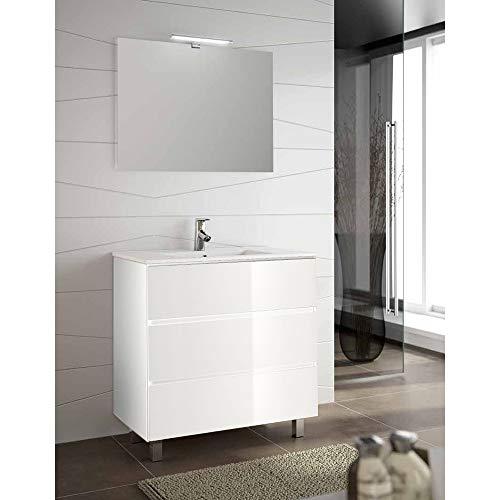 OLIMPO Mueble de baño Freya con Tres cajones, Lavabo y Espejo 75 cm