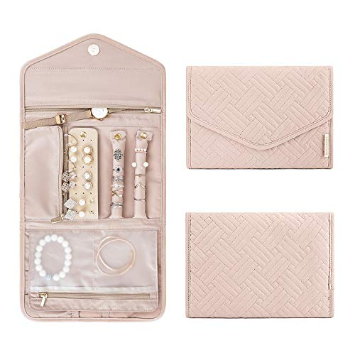 BAGSMART Travel Jewelry Organizer Roll Foldable Jewelry Case for Journey-Rings, Necklaces, Bracelets, Earrings, Soft Pink