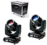 Audibax Monster Beam 7R, Kit de 2 Luces LED Cabeza Móvil, Lámpara OSRAM Sirius de 230 W, Experiencia Visual, Rayo Beam o Wash, Potente Haz de Luz, Incluye Maleta Protectora