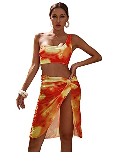 Milumia Women's 3PCS Swimsuit Tie Dye One Shoulder Bikini Set and Beach Skirt Set Orange Medium