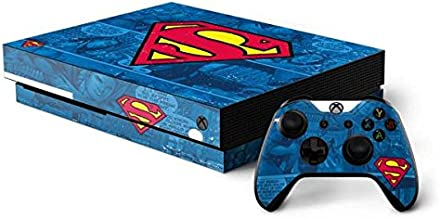 Skinit Decal Gaming Skin for Xbox One X Console and Controller Bundle - Officially Licensed Warner Bros Superman Logo Design