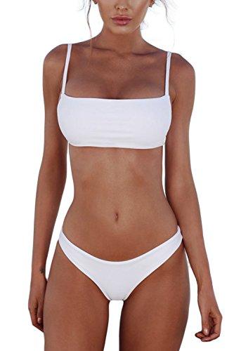 Cassiecy Damen Bikini Set Push Up Bustier Zweiteilig Sommer Sportliches Bademode Strand Bikini(Weiß,XL)