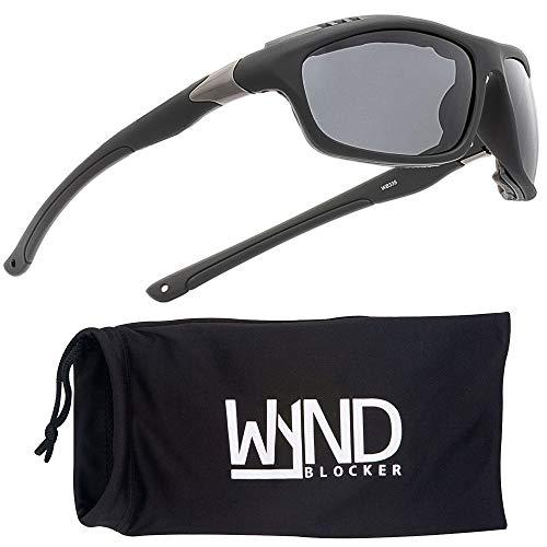 WYND Blocker Airdam Sunglasses Motorcycle Riding, Driving, Fishing, Boating Wrap (Black Matte,...