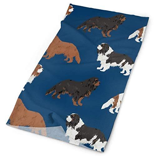 Cavalier King Charles Spaniel Navy Blue Cute Dog Pet Dogs Ruby Black And Tan Blemein Dog Coat Fabric Headbands Bandana Cap Scarf Face Mask Neck Gaiter Headwrap Sun UV Protection