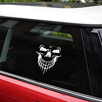 Skull Stickers and Decals for Car Windows Doors 3D Reflective Waterproof Skull Decals for Cars Trucks  Silver