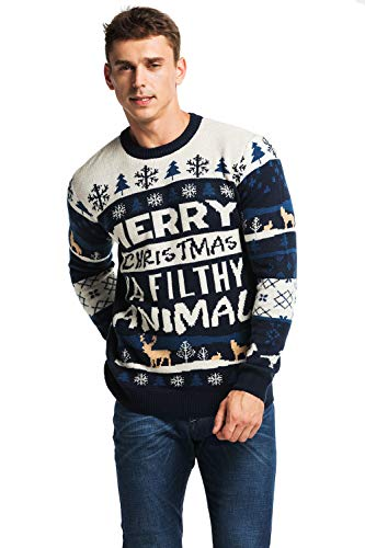 Unisex Men's Ugly Christmas Sweater Knitted Funny Fair Isle Pullover with Rude Slogan Holiday Hijinks, Medium