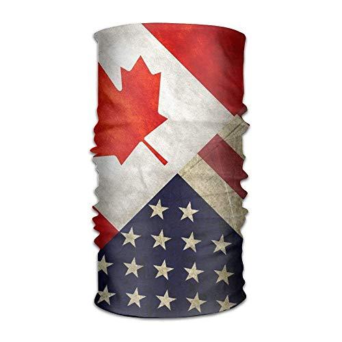 shenhaimojing Unisex USA America CA Canada Flag Headwear Bandanas Helmet Liner Head Wrap Scarf One Size Great Gifts for Men Women
