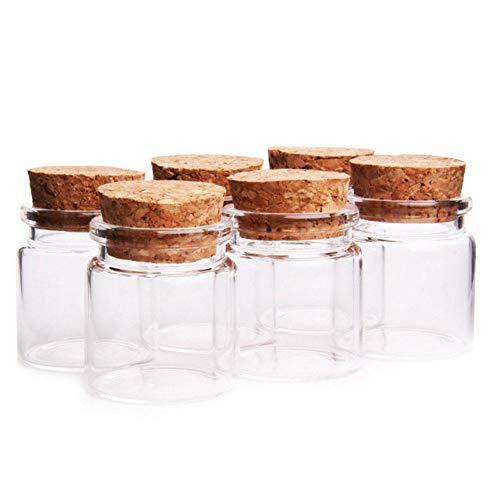 Fiesta Cotigo– 24 Piezas Mini Frascos con Tapones de Corcho, Pequeña Tarros de Vidrio,Bote de cristal para aromas,especias,boda,comunión,mensaje,recuerdo de fiesta(47mm x 50mm, 50ml)