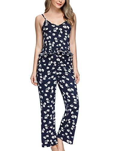 Zexxxy Women's Camisole Pajama Set Sleeveless Sleepwear Cute Pjs with Full Pants Blue