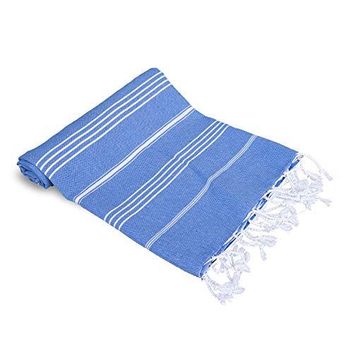 Peshtemalia-Toalla de Playa Grande Estilo Peshtemal - Original de Baño Turco Hammam. 100% Algodon & Eco Textil. Muy Ligera, Absorbente y Suav. 100x180cm (Azul - Sultan)