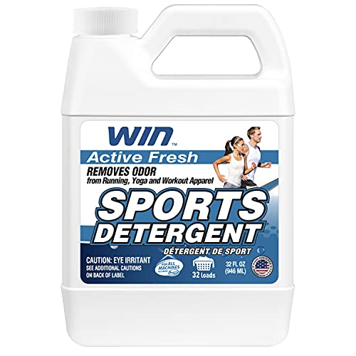 WIN Sports Laundry Detergent for Removing Stink and Odor from Microfiber and Activewear Workout Gear (Blue/Active Fresh, 32oz)