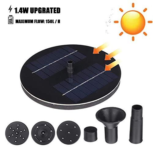 AYUSHOP Fuente Solar, Fuente Solar para Jardin 1.4 W Flotante Kit Bomba Agua Sumergible Solar Ideal para Pequeño Estanque, Piscina Estanque, Fish Tank, Decoración del Jardín