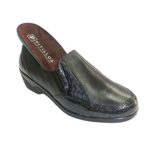 Zapatos Mujer con Adornos de cocodrilo Gomas en los Lados Pitillos en Negro Talla 37