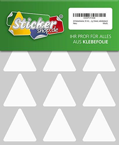 48 Aufkleber, Dreieck, Sticker, 50 mm, weiß, PVC, Folie, Vinyl, glänzend, Klebemarkierung, selbstklebend