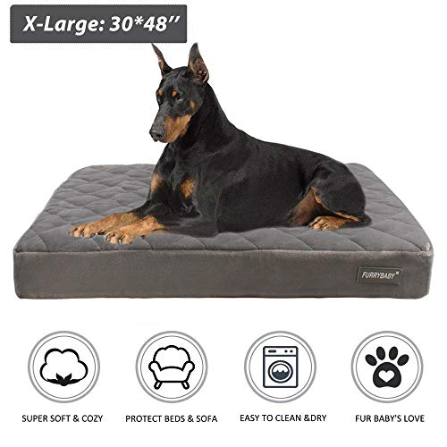 furrybaby Premium Orthopedic Memory Form Dog Bed with Waterproof Internal Liner and Removable Microfiber Cover (48x30x3.6'')