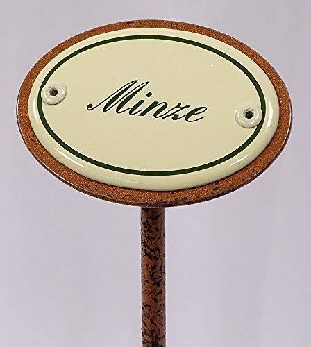 linoows Kräuterschild Kräuterstecker Emaille, Minze, Erdspieß 25 cm