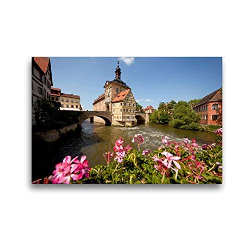 CALVENDO Premium Textil-Leinwand 45 x 30 cm Quer-Format Rathaus Bamberg, Leinwanddruck von Peter Schickert