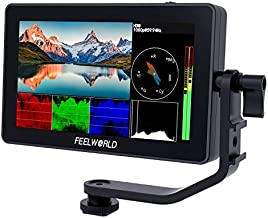 FEELWORLD F6 Plus 5.5 inch DSLR Camera Field Touch Screen Monitor with HDR 3D Lut Small Full HD 1920x1080 IPS Video Peaking Focus Assist 4K HDMI 8.4V DC Input Output Include Tilt Arm