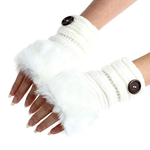Kanpola Damen Fäustlinge Warme Winter Faux Kaninchenfell Handgelenk Fingerlose Handschuhe Fäustlinge (One size, Weiß)