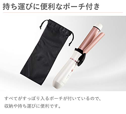 コイズミカールヘアアイロン26mmコードレス海外対応USB充電式2段階温度調節ホワイトKHR-1310/W
