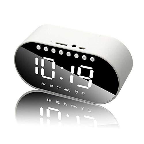 Hancoc Blanca del Altavoz del Despertador inalámbrica Bluetooth subwoofer portátil de casa Reproductor de Audio Mini